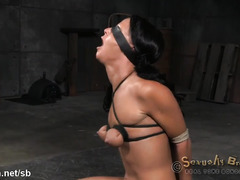 Three demanding male rods for submissive slave's juicy and tight poon tang