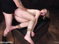 Painful electro shocks and rough beaver hammering for demure blonde slave