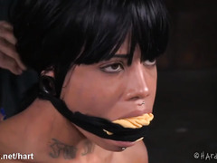 Hot ebony with pierced nipples cries from black master's wicked punishment