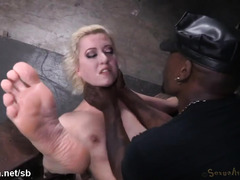 Extensive breathplay and rough beaver hammering for bounded submissive blonde