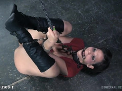 Big boobs mature slave endures harsh beating punishment with her nipples clamped