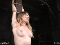 Busty brunette screams loudly from master's persistent flogging punishment