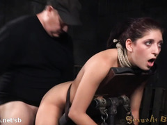 Rough group doggystyle and deepthroating for stunning brunette slave