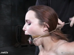 Tormenting busty brunette with vigorous feet caning and nipples torture