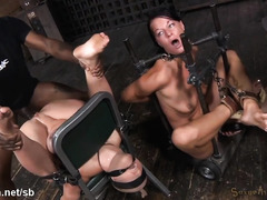 Free flow of sweet pussy nectar from punishing and fingering two beautiful slaves
