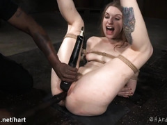 Whipping brunette slave's smooth bottoms after extracting loads of pussy nectar