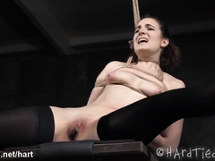 Black master showed hot brunette slave the wonderful joys of bondage punishment