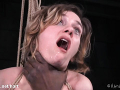 Tormenting breathplay and flogging pleasures for lovely brunette sex slave