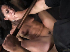 Hot slave's face is filled with spits while receiving rough threesome punishment
