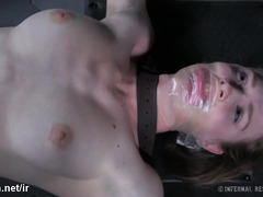 Blue-eyed brunette screamed wildly from masters' relentless pussy stimulation