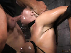 Busty blonde experiences rough deepthroating with mind-blowing pussy toying