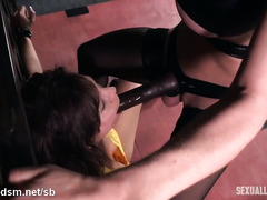 Punishing busty mature slave with relentless and rough deepthroating pleasures