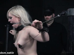Excruciating bondage and breathplay tormenting for submissive blonde slave