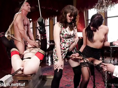 Breathtakingly beautiful sex slaves served the house through their succulent holes