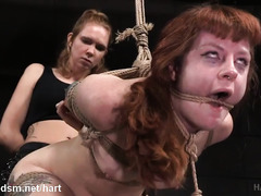 Painful caning and anal toying for lovely submissive brunette slave