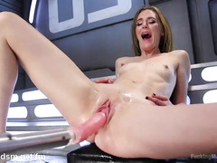 Skinny brunette becomes a squirt slut from playing with the fucking machine