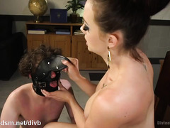 Demanding and stunning mistress gives submissive stud a lusty domination lesson