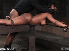Bounded big boobs ebony enjoys rough deepthroating and doggystyle banging