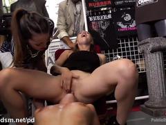 Gorgeous slut receives wicked sex punishment inside a local t-shirt shop