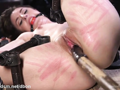 Tormenting bounded brunette slave with exquisite body flogging and caning