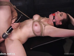 Brunette gets rough anal and beaver thrashing punishment from a horny doctor