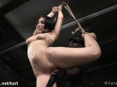 Black master showed hot slave the pure joy of bondage punishment with whipping