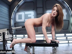 Sexy brunette's shaved twat is awfully wet from relentless fucking machine play