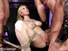 Stunning blonde servant experiences filthy and wild gangbang punishment