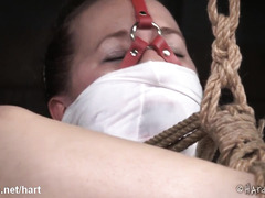 Bounded beauty suffered from master's painful and harsh whipping punishment