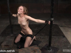 Rough threesome fucking and deepthroating for hot slave chick in stockings