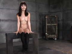 Rough pussy hammering for beautiful and submissive Japanese slave