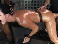 Powerful and harsh deepthroating for resilient slave during wild threesome
