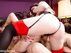 Fantastic fucking training delights for two beautiful and submissive sex slaves