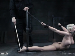 Bounded blonde slave experiences wicked toying for her juicy shaved pussy