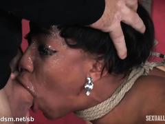 Amazing deepthroating and fervent pussy banging pleasures for hot ebony slave
