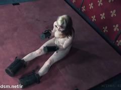 Uncomfortable metal casings punishment for beautiful blonde slave