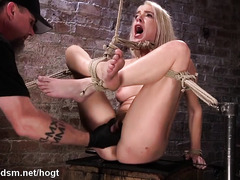 Blonde slave's pussy was awfully wet from master's relentless punishment
