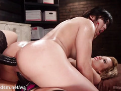 Busty Asian slave serves two horny mistresses through her juicy pussy