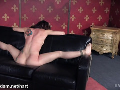 Humiliating sofa punishment for hot slave with succulent shaved pussy