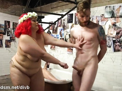 Two bbw mistresses tormented submissive slave stud with their wicked fats