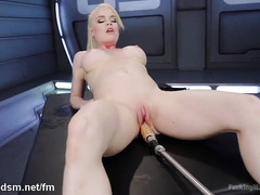 Earth shattering ecstatic pleasures for horny blonde during fucking machine play