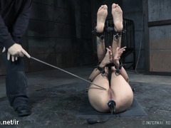 Painful caning and vigorous pussy stimulation for submissive big tits slave