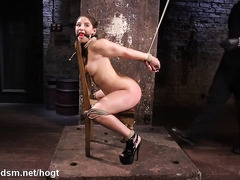 Hogtied brunette begs master for mercy as he punishes her lovely fuck holes