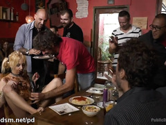 Gorgeous blonde slave's filthy hot sex punishment at a public restaurant