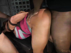 Blindfolded voluptuous slave enjoys wicked sex tormenting from two masters