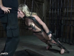 Old master torments submissive blonde with water and caning punishment