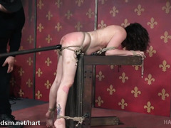 Master torments bounded slave with explicit pussy toying and rough beatings