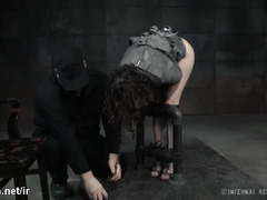Babe gets her clothes stripped off before receiving wicked punishment from master