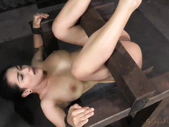 Extreme deepthroating and fervent beaver pounding delights for submissive slave