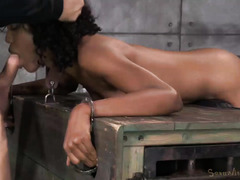 Sweet ebony submits to master's unforgiving beaver and anal pounding punishment
